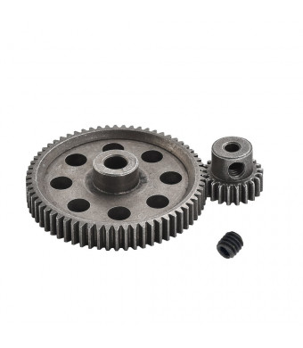 XPURC 11184 Diff Differential Main Metal Spur Gear 64T and 11181 Motor Gear 21T RC Replacement Parts Apply to EPX 1/10 Rc Car Redcat