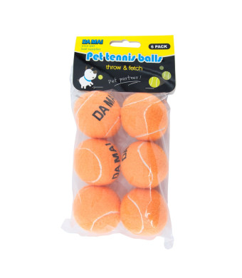 Da Mai 2.5inch Orange Tennis Ball for Sports and Pet Toys Dogs Outdoor Sports Cricket(6 Balls)