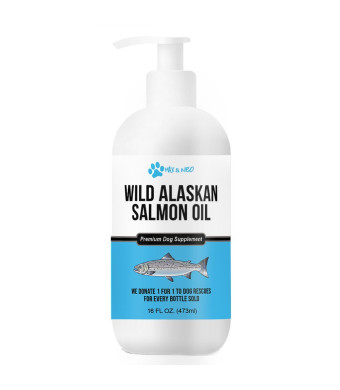 Max and Neo 100% Pure Wild Caught Alaskan Salmon Oil for Dogs and Cats - We Donate One for One to Dog Rescues for Every Bottle Sold