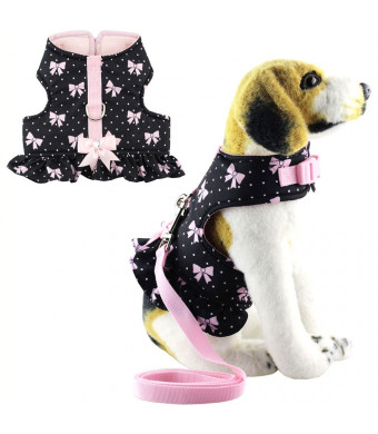 Bolbove Pet Cute Bowknot Dots Vest Harness and Leash Set for Cats Dogs Black