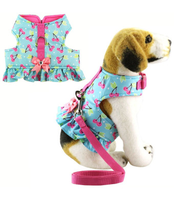 Bolbove Pet Lovely Cherry Dots Vest Harness and Leash Set for Cats Dogs Blue
