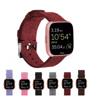 XMeng Compatible Fitbit Versa Bands Woven, Fabric Wrist Charcoal Replacement Strap Quick Release Watch Band with Classic Square Stainless Steel Buckle for Fitbit Versa Fitness Smart Watch