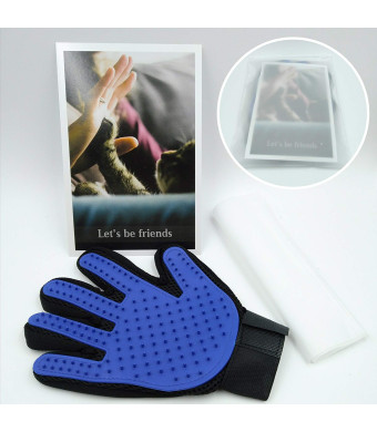 Pet Hair Remover Glove Blue,Gentle Pet Grooming Glove Cat Brush,Deshedding Glove,Efficient Cat Hair Glove Remover Mitt with Enhanced Five Finger Design,Perfect for Dogs and Cats - 1 Pack(Right)