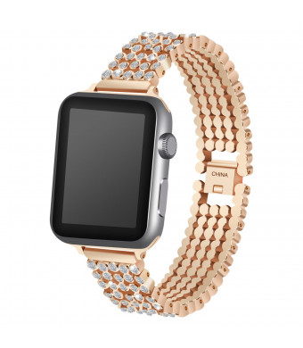 Miga Rhinestone Diamond Metal iWatch Bands Quick Release Bracelet Stainless Steel Wrist Strap For Apple Watch Band 38mm/42mm Series 1/2/3 Sport And Edition Versions Men/Women(Rose gold,42mm)