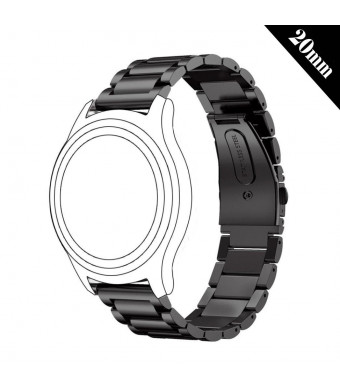Antube 20mm Women Men Solid Stainless Steel Watch Band Replacement Bracelet Strap for Huawei Watch 2 Sport, Ticwatch 2, Samsung Gear S2 Classic/Sport, Nokia Withings Steel HR 40mm Smartwatch (Black)