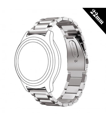 Antube 22mm Women Men Solid Stainless Steel Watch Band Replacement Bracelet Strap for Samsung Gear S3 Classic and Frontier, Huawei Watch 2 Classic, LG Watch, Urbane and R Smartwatch (Silver)