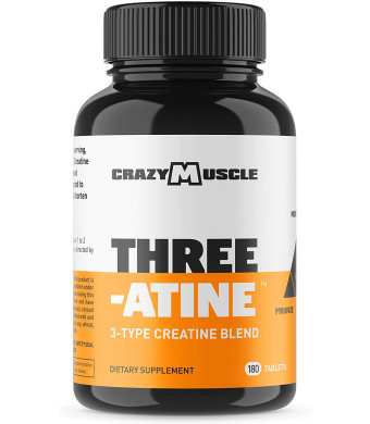 Crazy Muscle Creatine Monohydrate Pills - 5,000mg Per Serving - 2 Month Supply - 180 Capsules - Muscle Gain Supplement with Over 5g of Monohydrate, Pyruvate + AKG - Optimum Strength Creatine Tablets