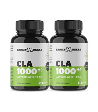 CLA Safflower Oil Pills (2 Month Supply): 240 High Potency Non-GMO Softgels - 1000 mg CLA Supplements by Crazy Muscle