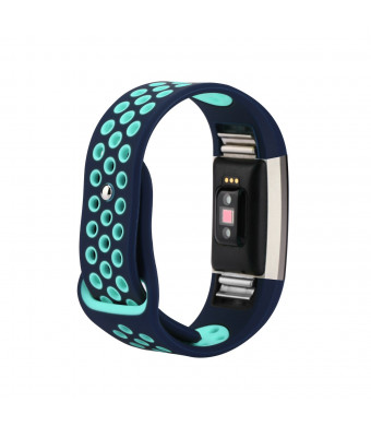 for Fitbit Charge 2 Bands, Wristband Adjustable Comfortable Soft Silicone Replacement Band for Fitbit Charge 2 Fitness (Blue and Teal, Small (5.5-6.7))