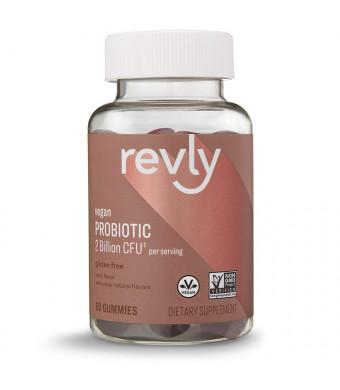 Amazon Brand - Revly Probiotic, 2 Billion CFU per Serving (2 Gummies), Berry Flavor, 60 Gummies, Vegan, Non-GMO