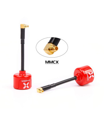 nidici Foxeer Lollipop 2 FPV Antenna 5.8GHz RHCP Ommi 2.5dbi MMCX Antenna for FPV Quadcopeter TX/RX/VTX (Angle)(Red,Pack of 2)