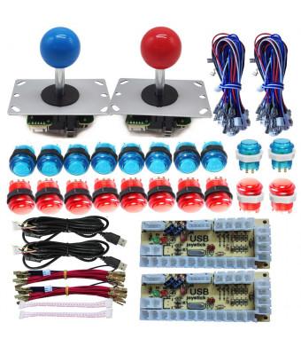 Tongmisi Arcade DIY LED Kit Zero Delay USB Encoder to PC Arcade Games 8 Way Joystick + 5V LED Illuminated Arcade Push Buttons (Red Blue)