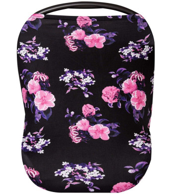 Premium Soft Floral Black Multi-Use Cover for Nursing and Carseat Canopy, Baby Car Seat, Breastfeeding Scarf, Shopping Cart - 4 in 1 Nursing Cover - Best Baby Shower Gift Set - Floral Black and Pink