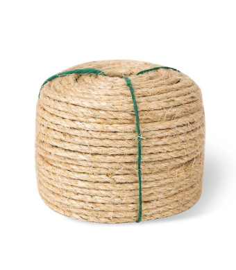 Yangbaga Scratching Post Sisal Rope for Cats, Sisal Rope Replacement, 1/4 inch Diameter, Natural Fiber Dye Free