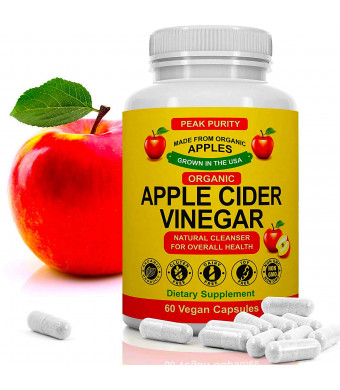 100% Organic Raw Apple Cider Vinegar Capsules - All Natural Detox Gut Cleanse and Immune Support ACV Pills - Weight Loss, Fat Burner, Appetite Suppressant and Metabolism Booster Supplement - 1000 mg