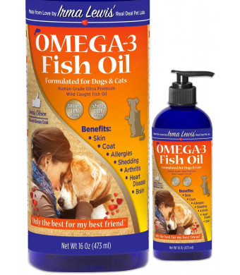 Ultra Premium Wild Caught Omega 3 Fish Oil for Dogs, Cats, Rabbits - Best For Silky Soft Coat, Ear Infections, Allergies, Dry Itchy Skin, Shedding. Essential Fatty Acids DHA and EPA, 16oz Pump