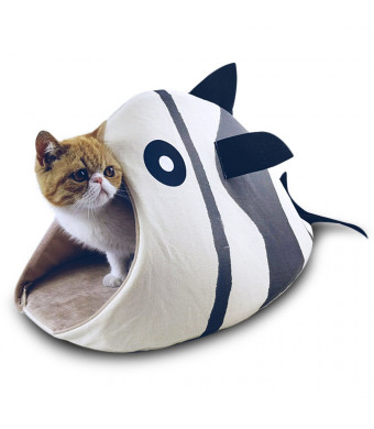 Petgrow Novelty Cat Bed House Decorative Fish Shaped, Cozy Comfy Pet Bed Cave for Cats Small Dogs, Kitten Puppy Cute Bed Cuddle