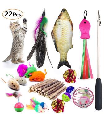 Cat Toys Set Including Catnip Fish Interactive Feather Retractable Teaser Wand Fluffy Tumbler Mouse Mylar Crinkle Balls for Kitten Kitty