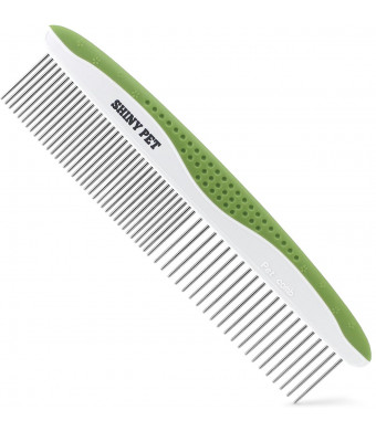 Dog Comb for Removes Tangles and Knots - Cat Comb for Removing Matted Fur - Grooming Tool with Stainless Steel Teeth and Non-Slip Grip Handle - Best Pet Hair Comb for Home Grooming Kit - Ebook Guide