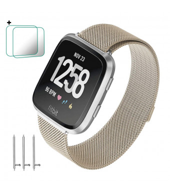 CONNICS for Fitbit Versa Bands Women Men Small Large, Milanese Loop Stainless Steel Metal Sport Replacement Bracelet Strap with Magnet Lock Wristbands for Fitbit Versa Smart Watch