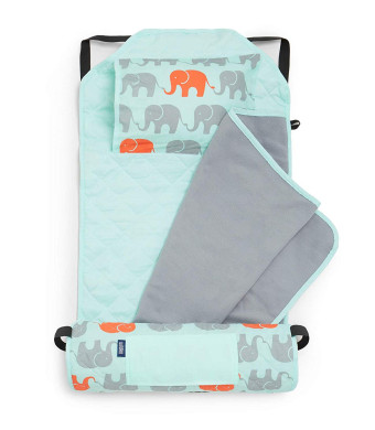 Wildkin Modern Nap Mat, Features Attached Blanket, Removable Pillow, and Elastic Straps for Securing to a Cot, Perfect for Daycare and Preschool  Elephants