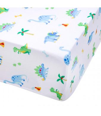 Wildkin Super Soft, Breathable Fitted Crib Sheet, Bold Patterns Coordinate Other Room Dcor, Olive Kids Design - Dinosaur Land