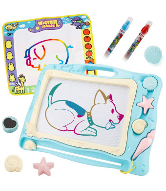 SONiKi 1PCS Magnetic Drawing Board+1PCS Magic Water Doodle Mat Magna Doodle Set with 3 Stamps and 2 pcs Water Writing pens Toys for Writing Painting Learning(Travel Size)