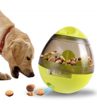 TECHSON Pet IQ Treat Ball, Interactive Food Dispensing Tumbler Toy, Bite Resistant Training Ball for Dogs and Cats (Green)