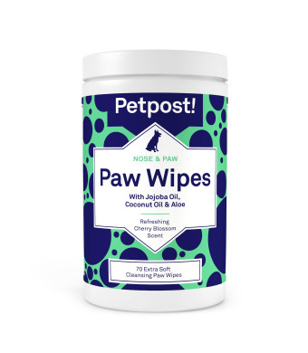 Petpost | Paw Wipes for Dogs - Cleans and Soothes Itchy Dog Paws - 70 Ultra Soft Large Cotton Pads in Coconut Oil, Jojoba Oil, and Aloe Cleaner