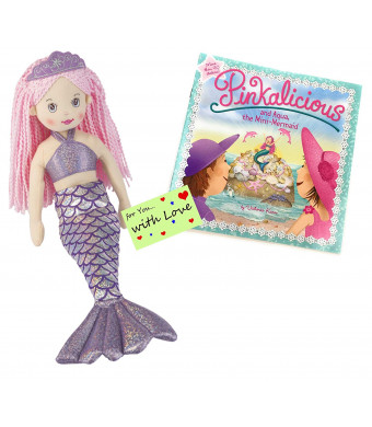 Girls Mermaid Doll RAIN Pink Hair w/Pinkalicious and Aqua, The Mini-Mermaid Book w/ Stickers and Gift Tag