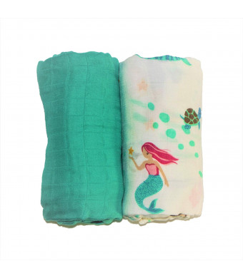 Bamboo Swaddle Blanket 2 Pack by Eden's Grace- Mermaid and Teal- Extra Large 47 x 47 inch-Ultra Soft Bamboo Swaddling Wraps- Perfect Newborn Receiving Blankets