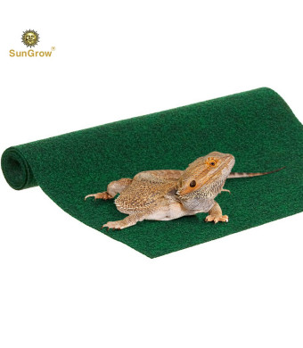 Biodegradable Lizard Mat (1 pc) - Non Abrasive, Easy to Clean Reptile Bedding - Green, Multipurpose 1 Thick Fabric Sheet - Substrate Liner Safe for Terrariums, Tanks, Home and Kitchen Use
