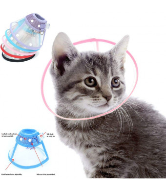 Naomi Dickerson Recovery Pet Cone E-Collar for Cats and Small Dogs - Elizabethan Collar with Breathable Soft Edge, Plastic Snap Closure and Stainless Steel D Ring- Pink Color
