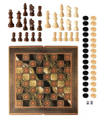 Juvale 3-in-1 Vintage Style Folding Game Board Set for Travel, Chess, Checkers, and Backgammon, Includes Wooden Game Pieces, Dice, 19 x 19 x 1 Inches