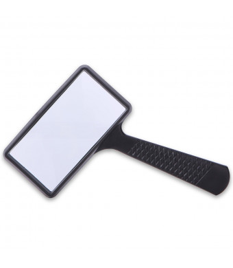 Rectangular Handheld Magnifier Magnifying Glass (3X Magnification) - Easy to Store/Carry - Large Horizontal Viewing Area for Reading Small Prints and Low Vision
