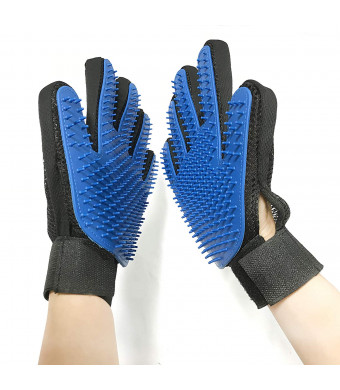 Pet Grooming Glove  Adjustable Deshedding Brush Mitt For Dogs and Cats With Long and Short Fur  Pet Hair Removal Glove With 259 Massaging Silicone Tips  Removes Loose Hair and Reduces Shedding (1 Pair)