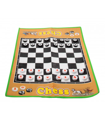 Jumbo Chess Carpet - Giant Chessboard with Chess Pieces, Indoor Outdoor Board Game Carpet for Family Fun, Party Decoration, 34 x 26 Inches