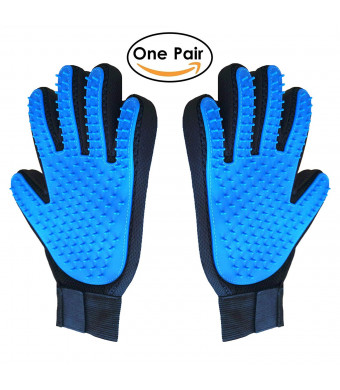 DOOPI Pet Grooming Glove, Gentle Pet Deshedding Brush Gloves, Pet Hair Remover Mitt, Five Finger Design, for Dogs, Cats and Horses with Long and Short Fur, One Pair.