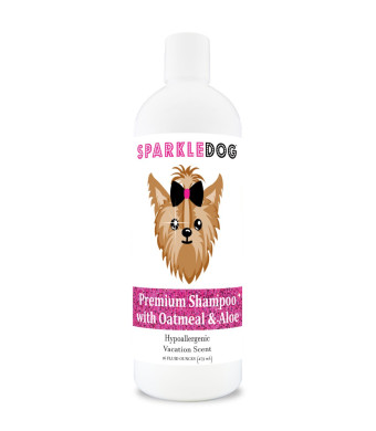 SparkleDog Oatmeal Dog Shampoo with Aloe - Hypoallergenic Formula and pH Balanced - Alcohol Free - for Dry Itchy Sensitive Skin - Gentle Vacation Scent - 16 oz