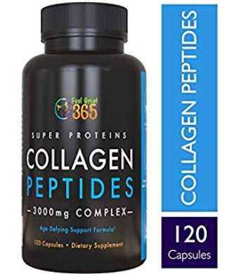 Hydrolyzed Collagen Peptides Powder Capsules (Type I andIII) by Feel Great 365 | Grass Fed Collagen Protein | Wheat Free, Keto and Paleo Friendly | Best Collagen Powder Supplement for Hair, Skin and Gut