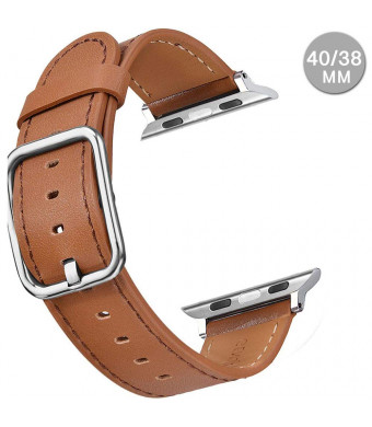 Compatible with Apple Watch Sports Band Series 4 (44mm, 40mm) Series 3 Series 2 Series 1 (42mm, 38mm) | Premium Genuine Leather Replacement Strap for iWatch (Brown, 40mm/38mm)