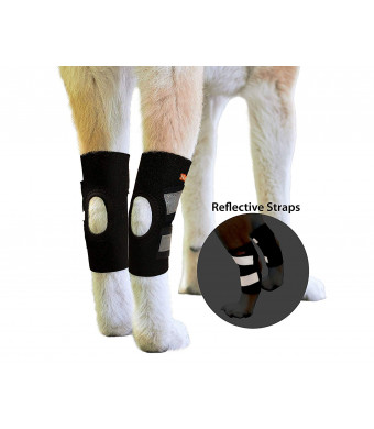NeoAlly Dog Hind Leg Ankle Braces [Pair] Canine Rear Hock Sleeves with Safety Reflective Straps for Injury and Sprain Protection, Wound Healing and Loss of Stability from Arthritis - 3 Colors (Pair)