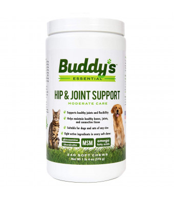 Glucosamine for Dogs and Cats - Hip and Joint Support Chews for Dogs and Cats - 240 Soft Chews - Antioxidant Rich with Chondroitin, MSM, Omega Fatty Acids - Support and Maintain Joint Health