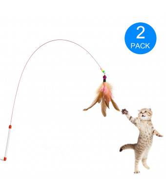 Zubita Cat Teaser, Kitten Cat Pet Dog Toy Wire Chaser Retractable Wand Rod Teaser Feather with Bell Beads Fun Exerciser Playing Toy for Kitten Cats and Puppy