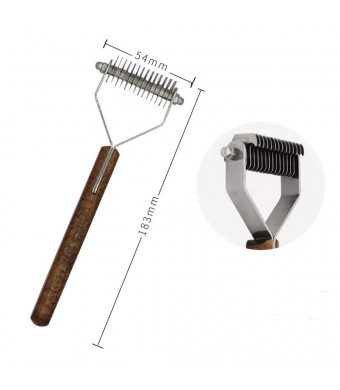 Undercoat Rake, Grooming Brush Tool Dogs and Cats - Safe Dematting Comb Easy Mats and Tangles Removing 13 Teeth Wide