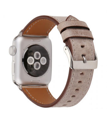 for iWatch Band 42mm-44mm Genuine Leather iwatch Strap Replacement Bands with Stainless Metal Clasp for iWatch Series 4/Series 3/Series 2/Series 1/Sport and Edition for Men and Women