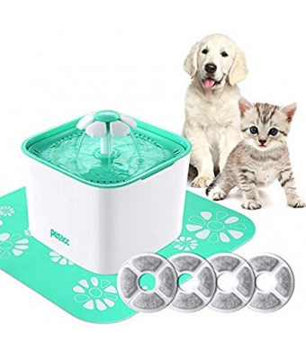 Pet Fountain Cat Dog Water Dispenser with Pump and 4 Replacement Filters - Healthy and Hygienic 2L Super Quiet Automatic Electric Water Bowl, Drinking Fountain for Dogs, Cats