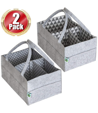 Baby Diaper Caddy Organizer Set of 2  Nursery Basket with Handles  Baby Diaper Storage and Changing Table Organizer 2-Pack Perfect Baby Shower Gift Basket for Newborn Girls and Boys by Cartik-2pack
