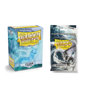 Dragon Shield Bundle: Matte Clear 100 Count Standard Size Deck Protector Sleeves + 100 Count Clear Inner Card Sleeves