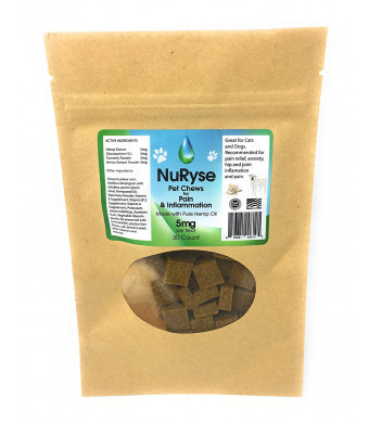 NuRyse Hemp Oil Dog Treats for Pain: Anti-Inflammatory Omega 3 Supplement with Glucosamine and Turmeric - Pain Relief for Pet Joints, Hips, Arthritis - 30 Count - 5mg per Treat - Pork Flavored